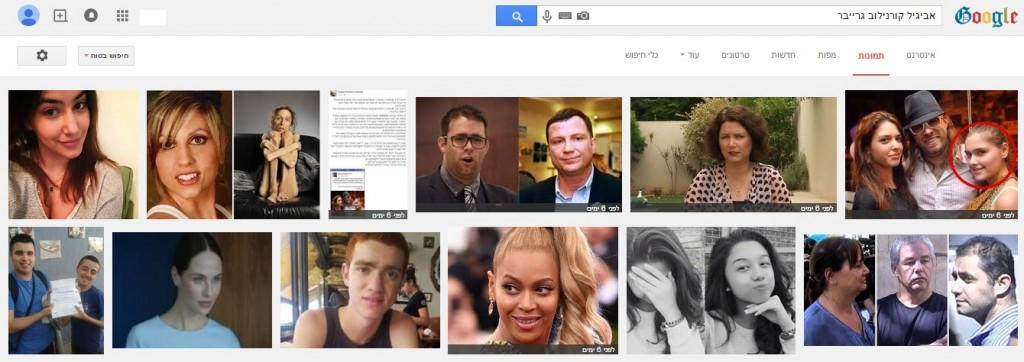 תוצאות חיפוש שמה של גרייבר ב-Google תמונות (לחצו להגדלה)