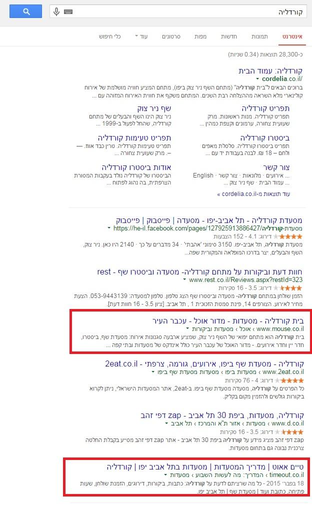 אתרי חדשות בתוצאות החיפוש של מסעדות ב-Google
