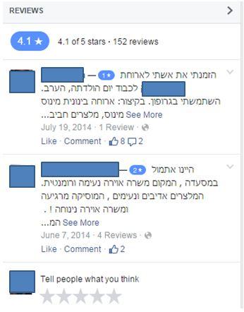 ביקורות אותנטיות על מסעדות בפייסבוק