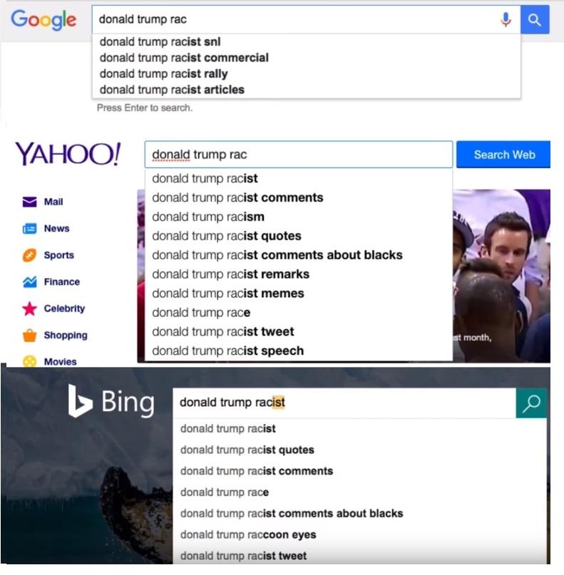 תוצאות החיפוש של דונלד טראמפ