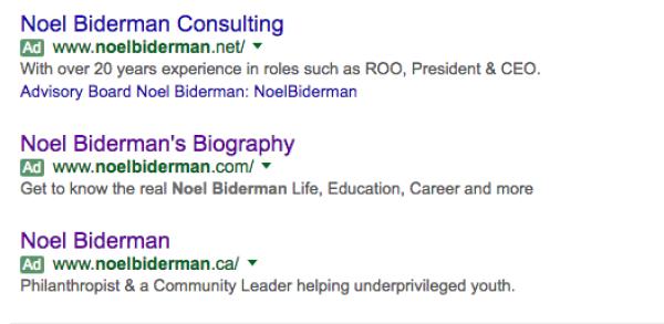 תוצאות החיפוש הממומנות תחת שמו של בידרמן